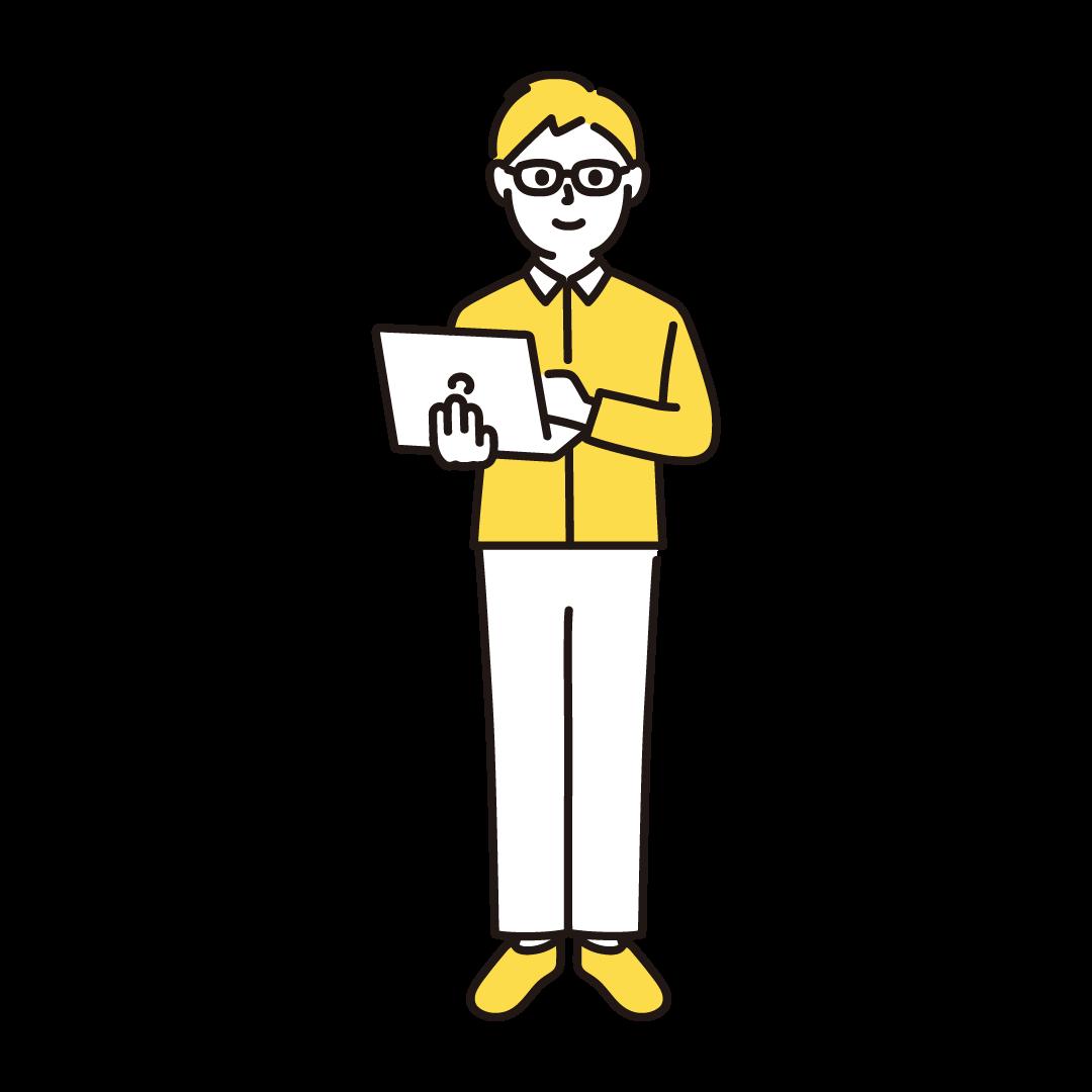 プログラマー(男性)の単色イラスト