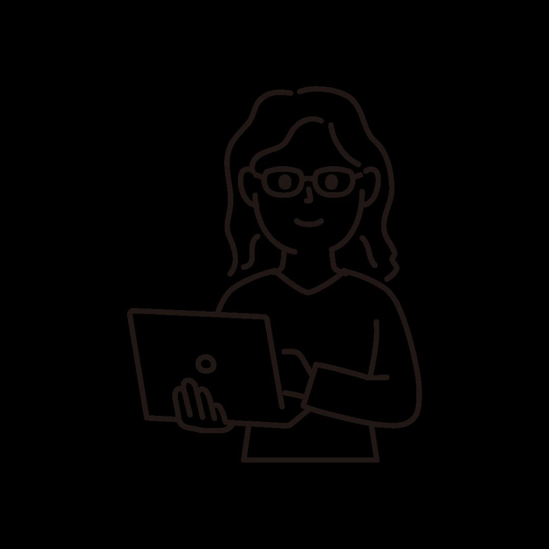 プログラマー(女性・上半身)の線画イラスト