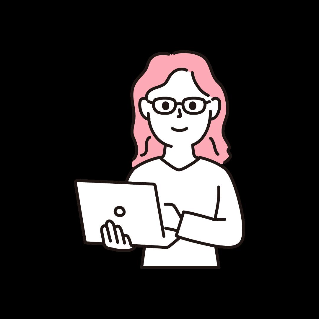プログラマー(女性・上半身)の単色イラスト
