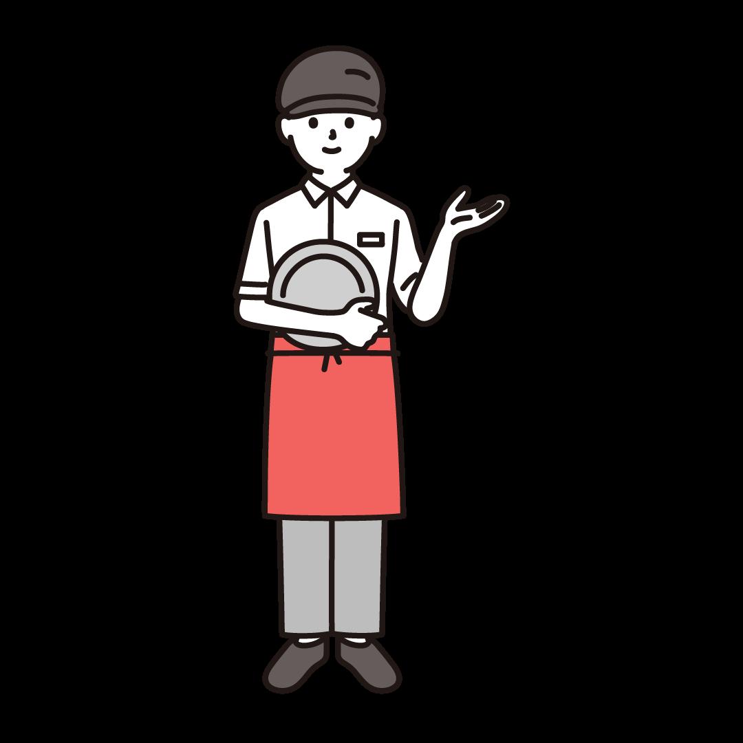 ファミレス店員(男性)のイラスト