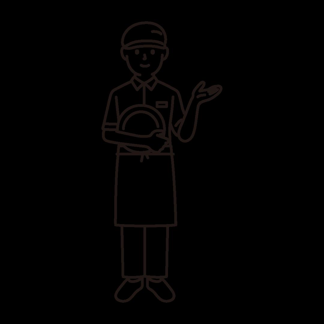 ファミレスの店員(男性)の線画イラスト