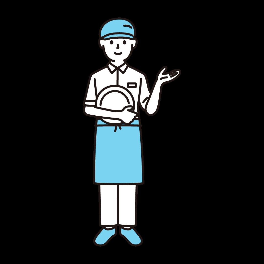 ファミレス店員(男性)の単色イラスト