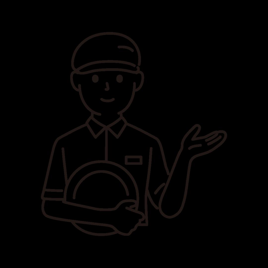 ファミレス店員(男性/上半身)の線画イラスト