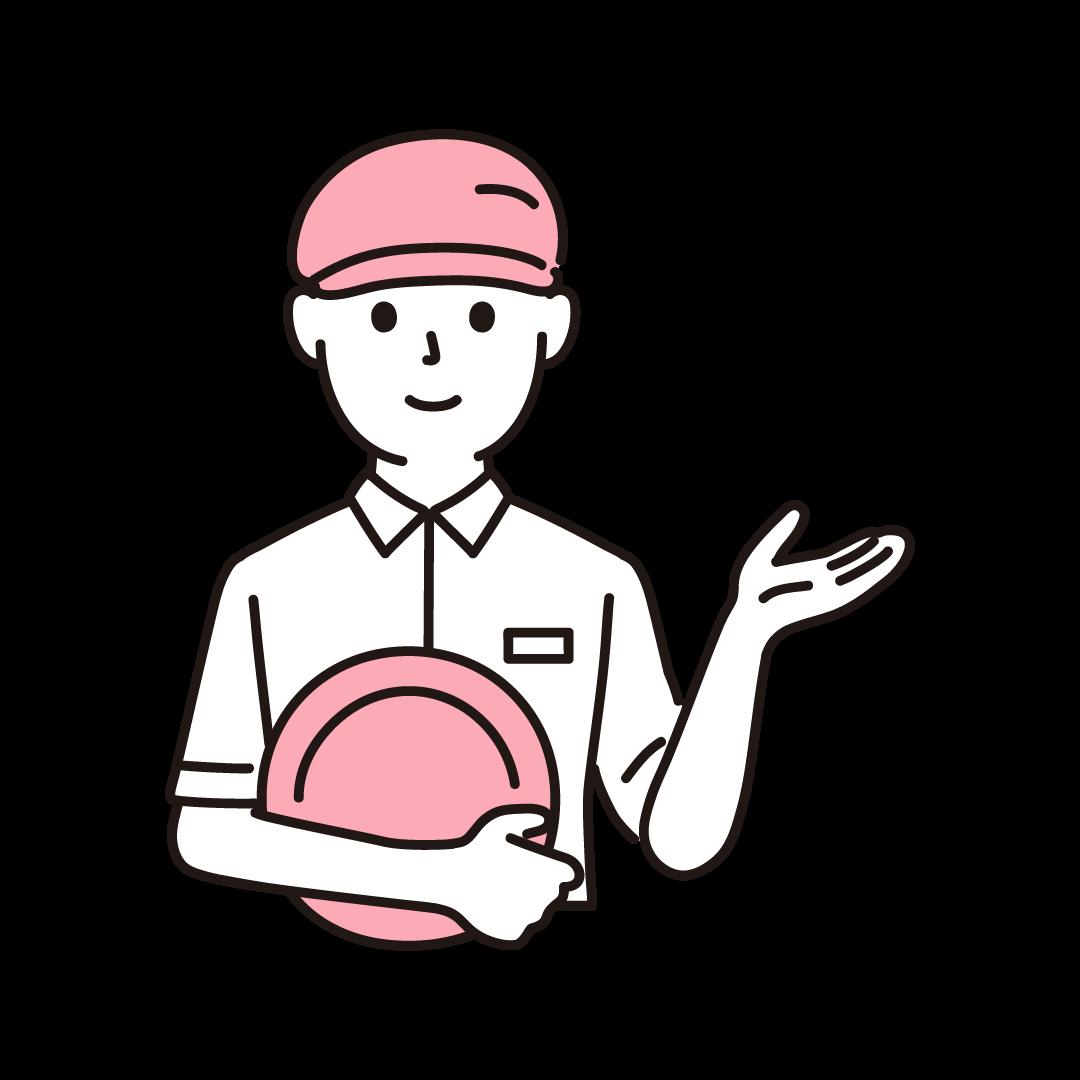 ファミレス店員(男性・上半身)の単色イラスト