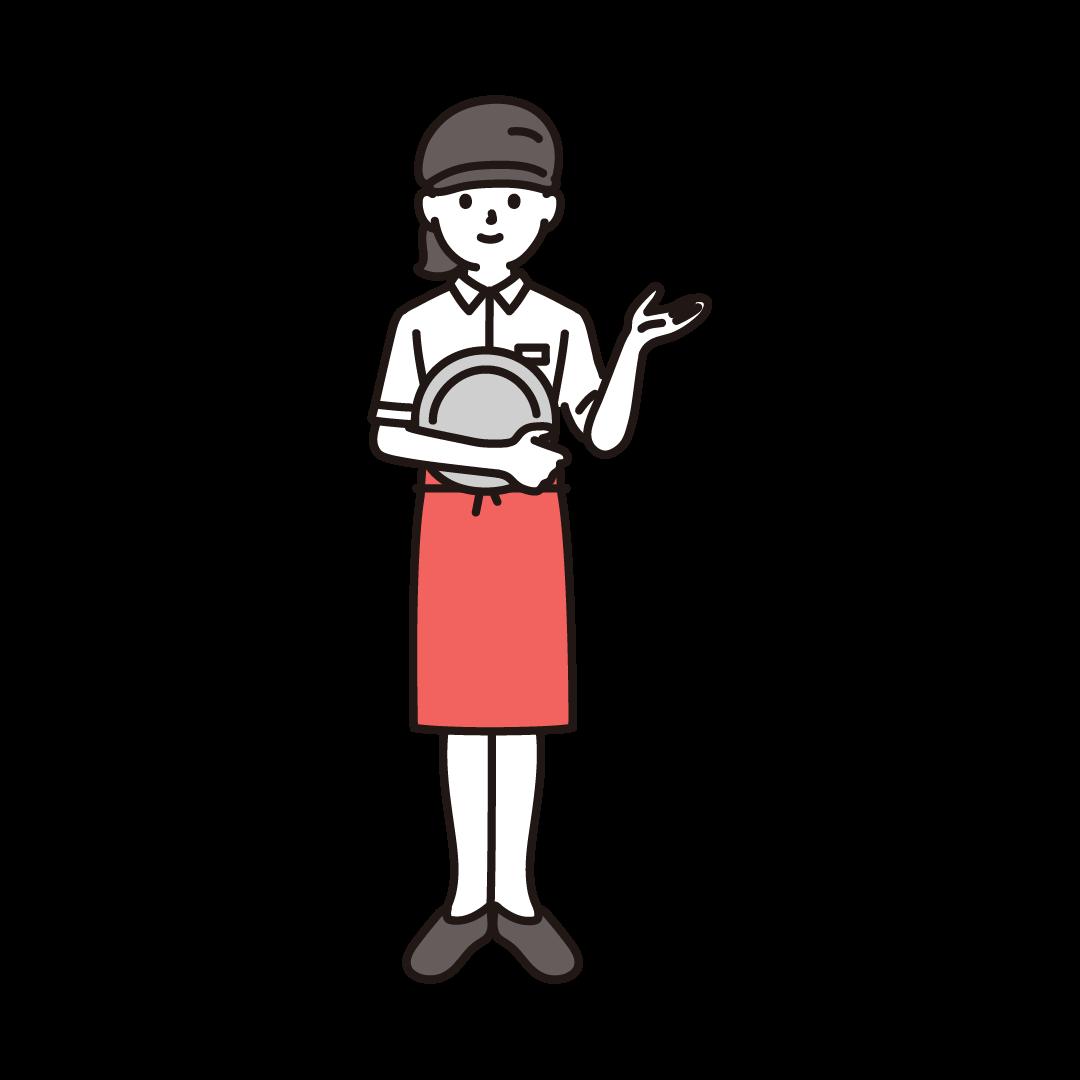 ファミレス店員(女性)のイラスト