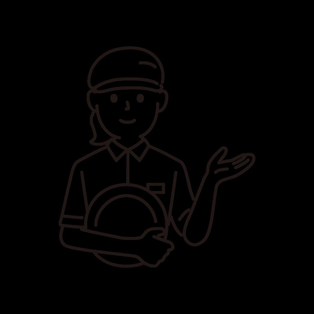 ファミレス店員(女性/上半身)の線画イラスト