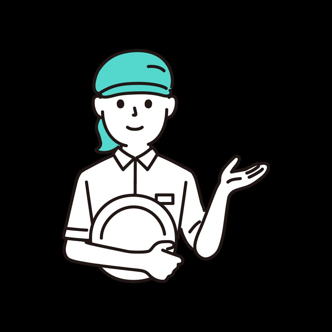 ファミレス店員(女性・上半身)の単色イラスト
