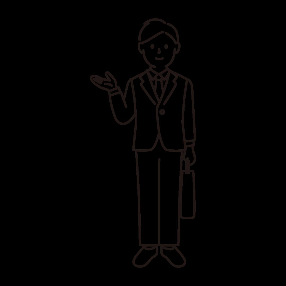 営業マンの線画イラスト