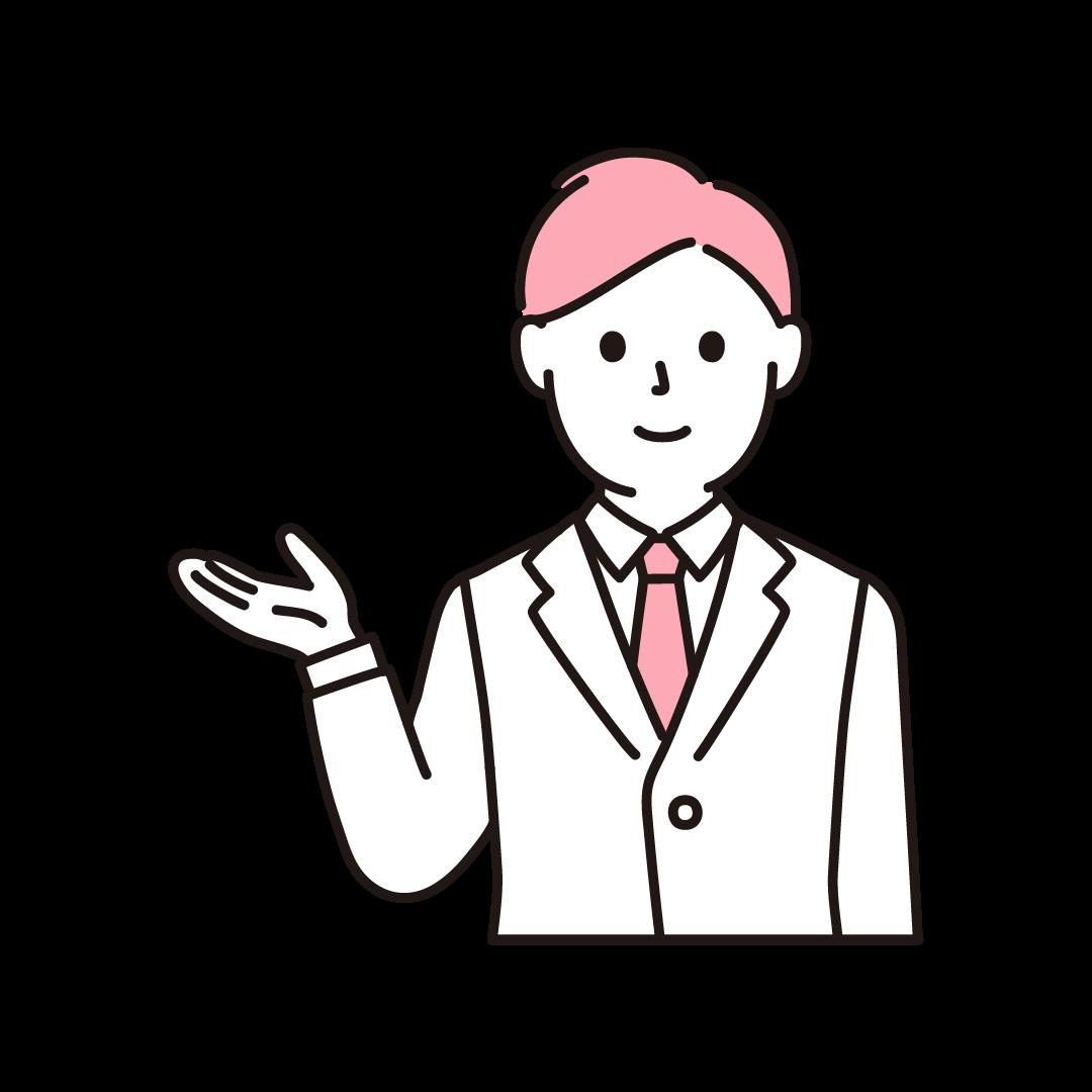 営業マン(上半身)の単色イラスト