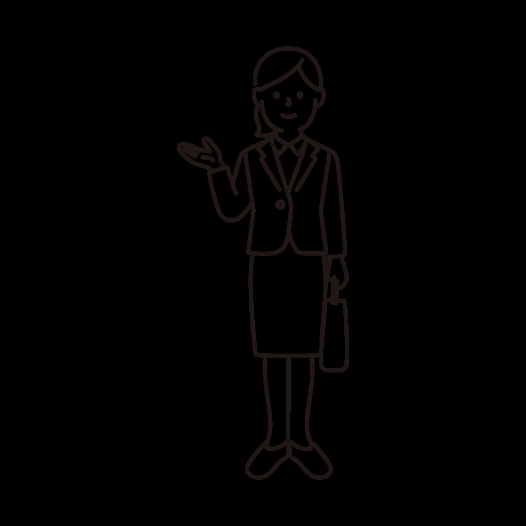 営業ウーマンの線画イラスト