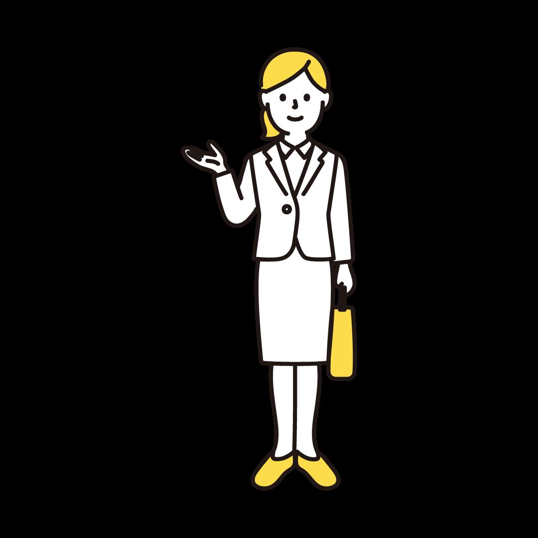 営業ウーマンの単色イラスト