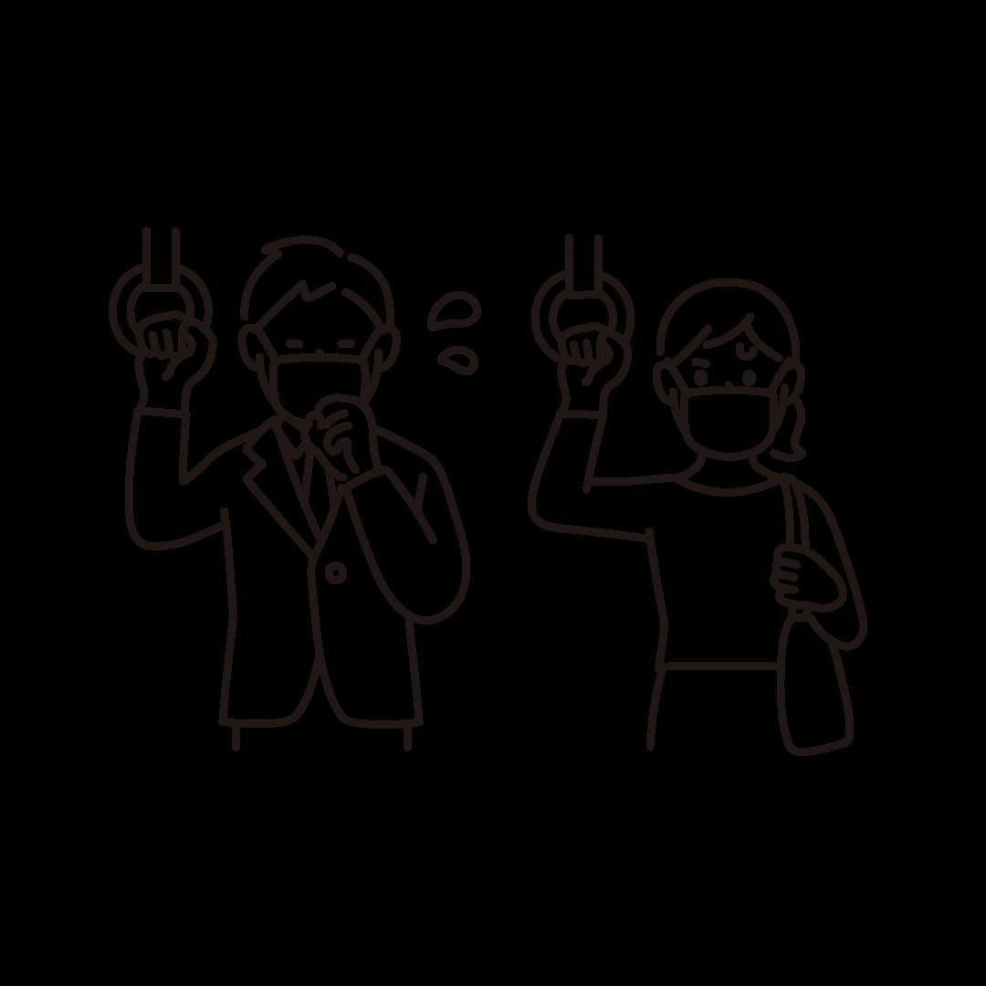 咳をする人を心配している人の線画イラスト