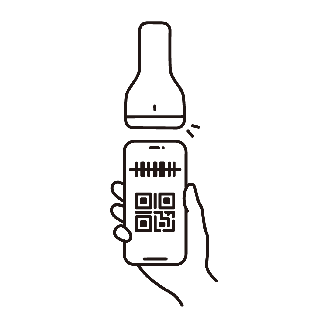 スマホ決済(バーコードリーダー)の線画イラスト