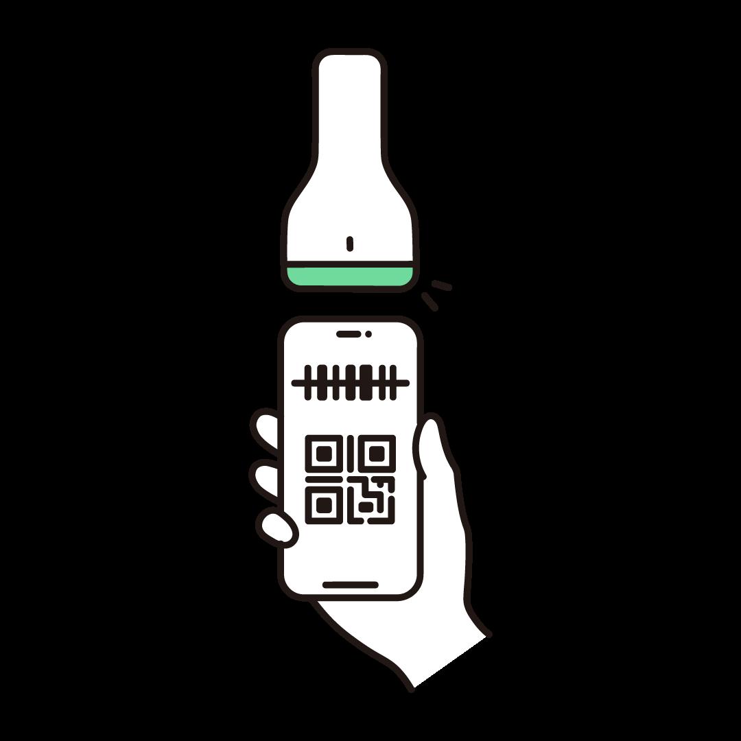 スマホ決済(バーコードリーダー)の単色イラスト