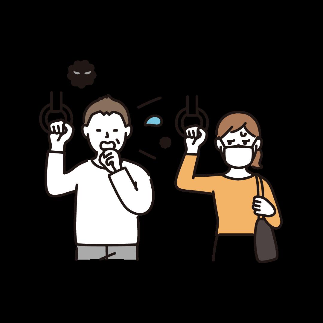 マスクをせず咳をする人を気にしている人