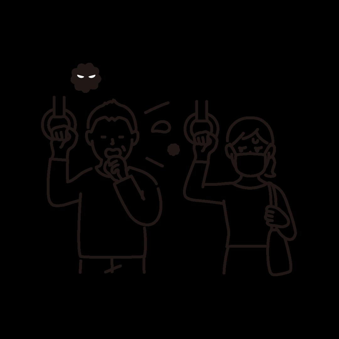 マスクをせず咳をする人を気にしている人の線画イラスト