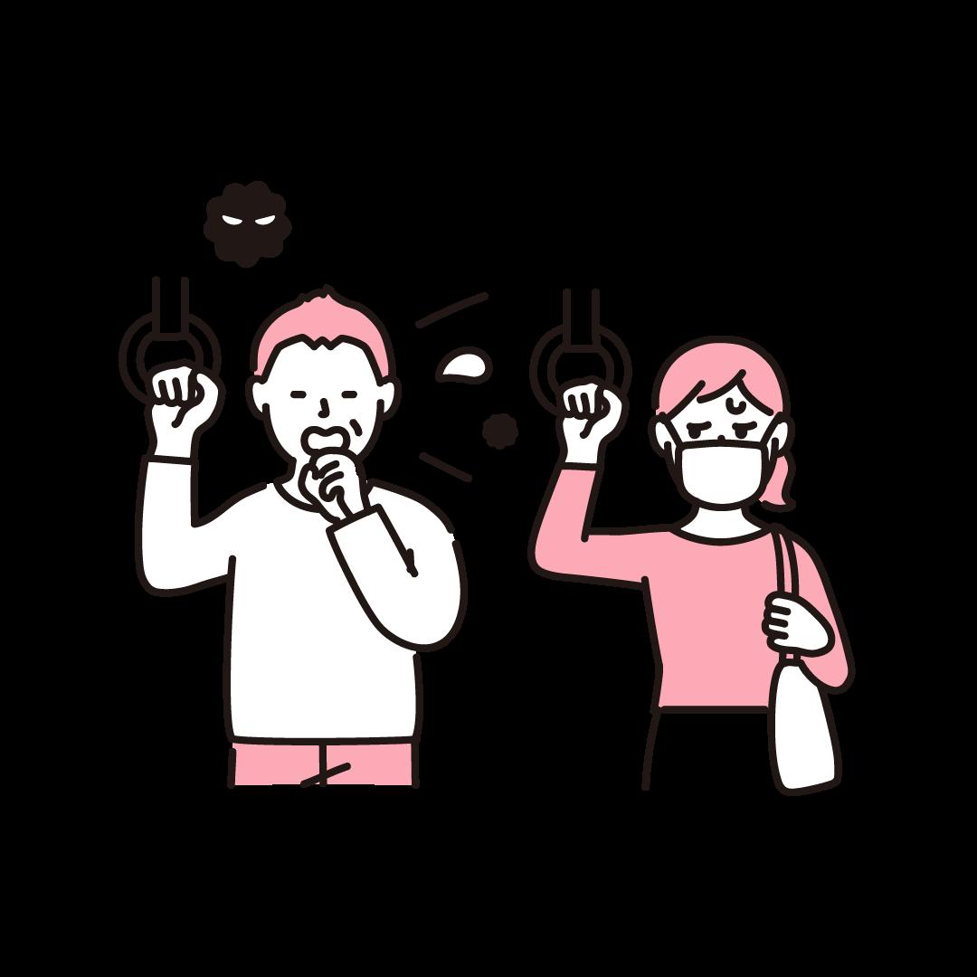 マスクをせず咳をする人を気にしている人の単色イラスト