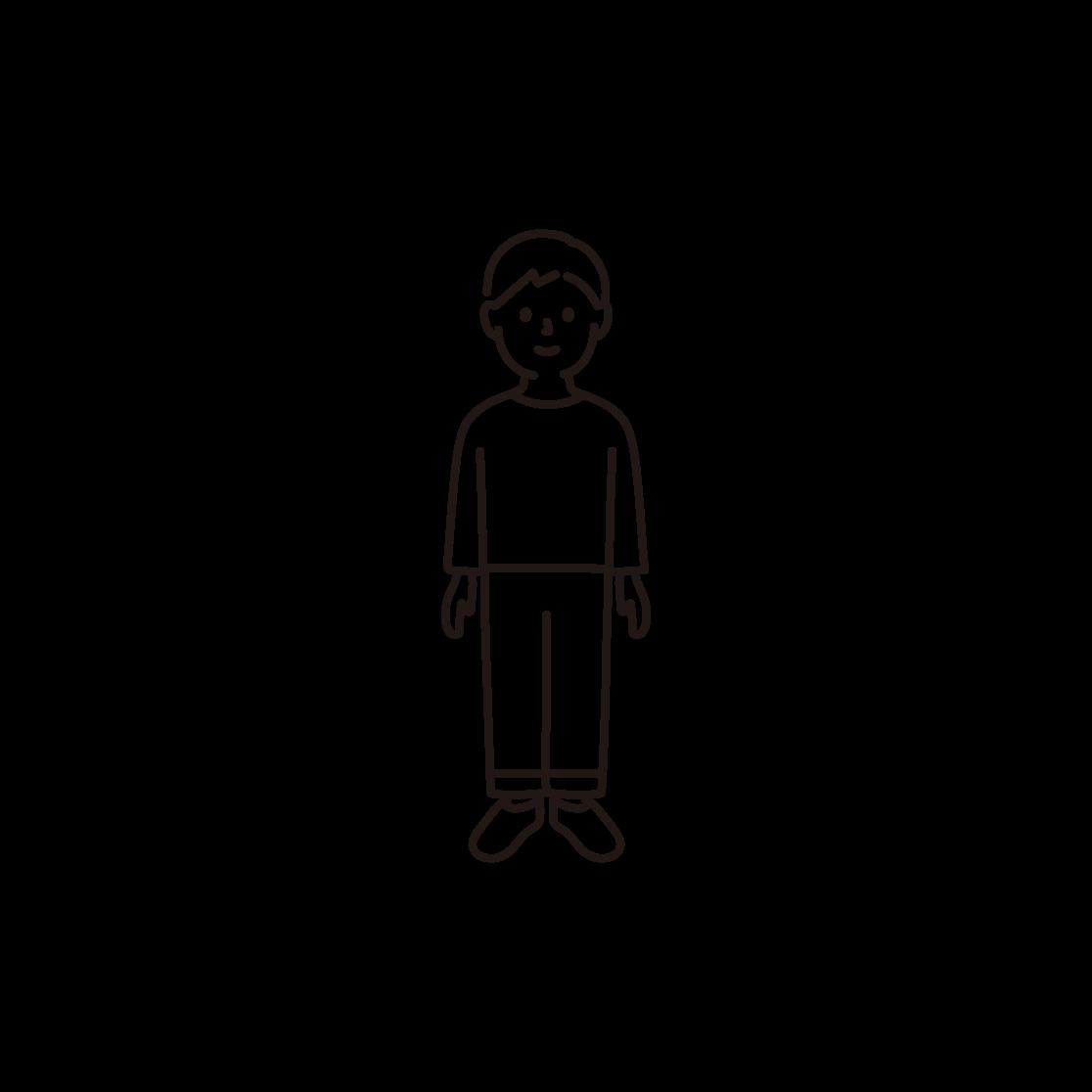 子ども(男の子)の線画イラスト