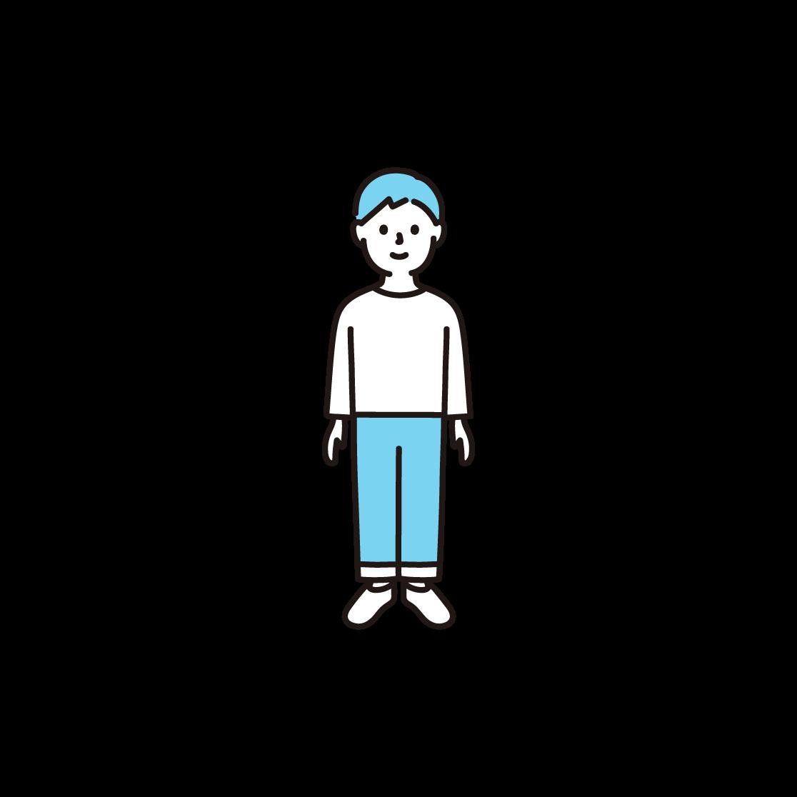 子ども(男の子)の単色イラスト