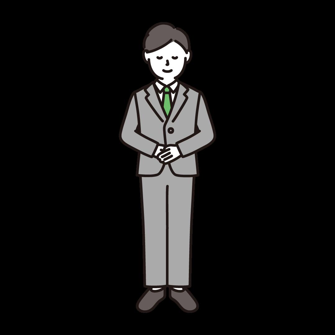 お辞儀をするビジネスマンのイラスト