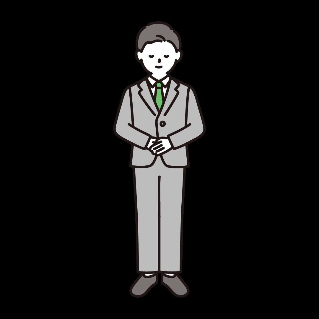 お辞儀をする男性のイラスト