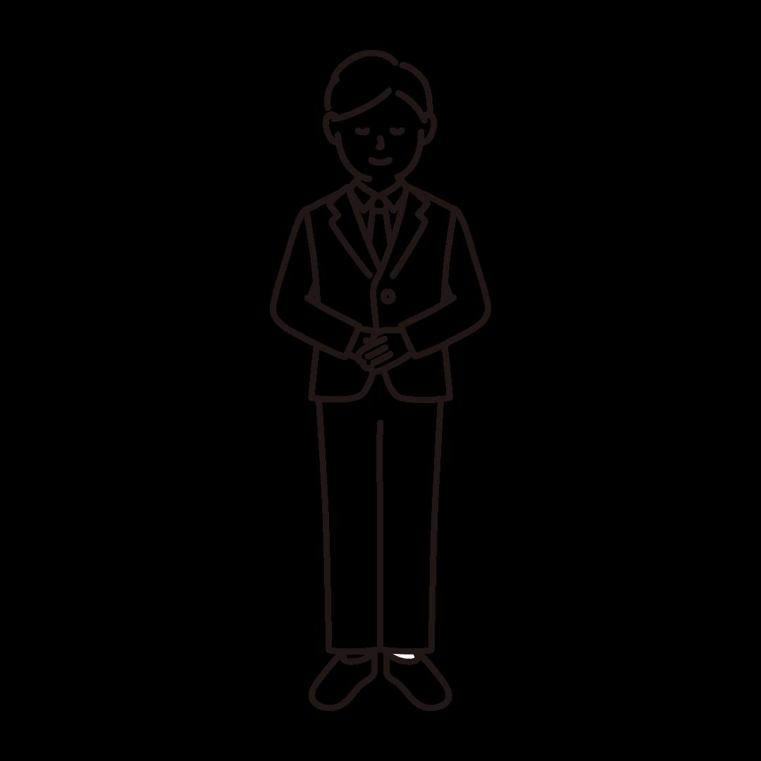 お辞儀をするビジネスマンの線画イラスト