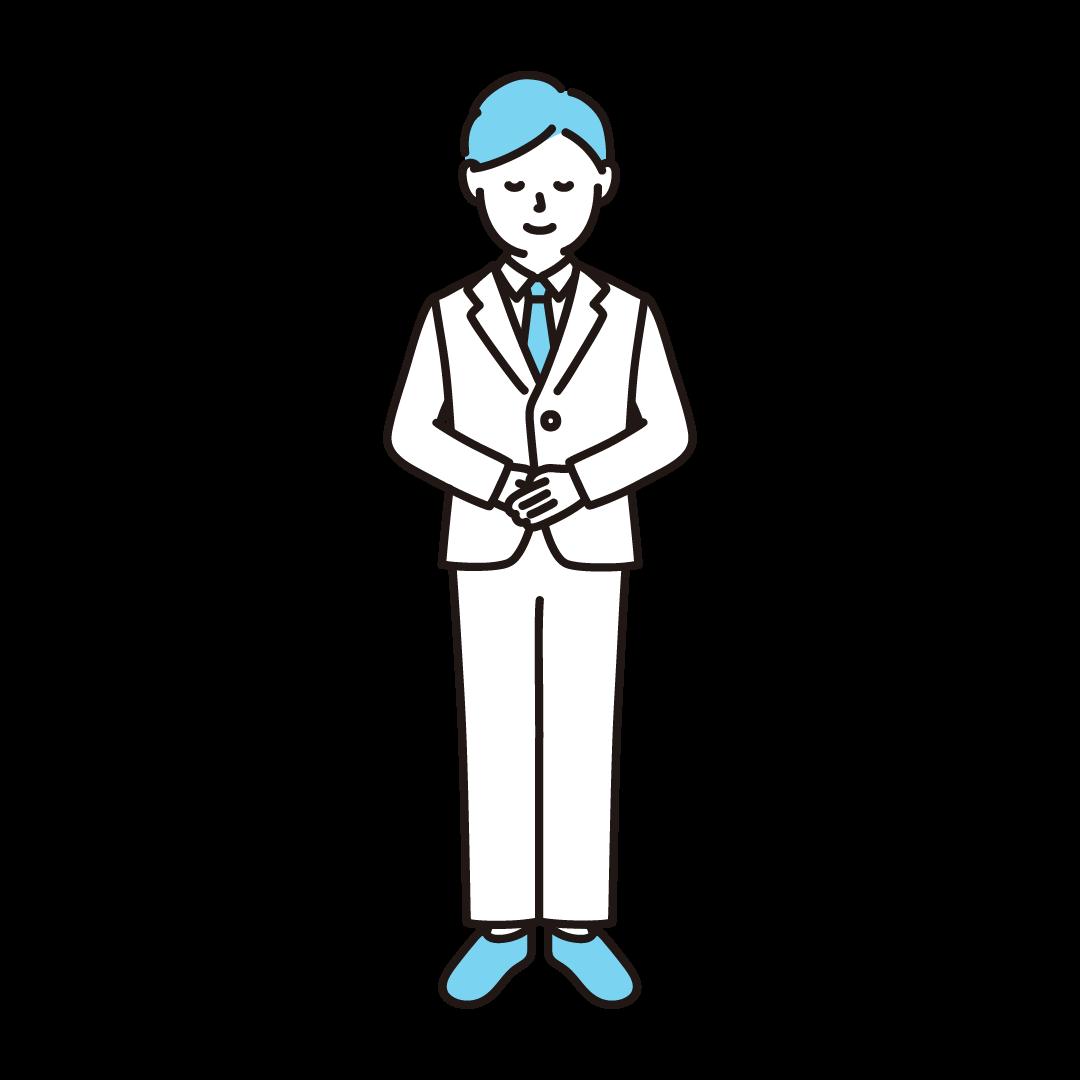 お辞儀をする男性のイラスト(ブルー)