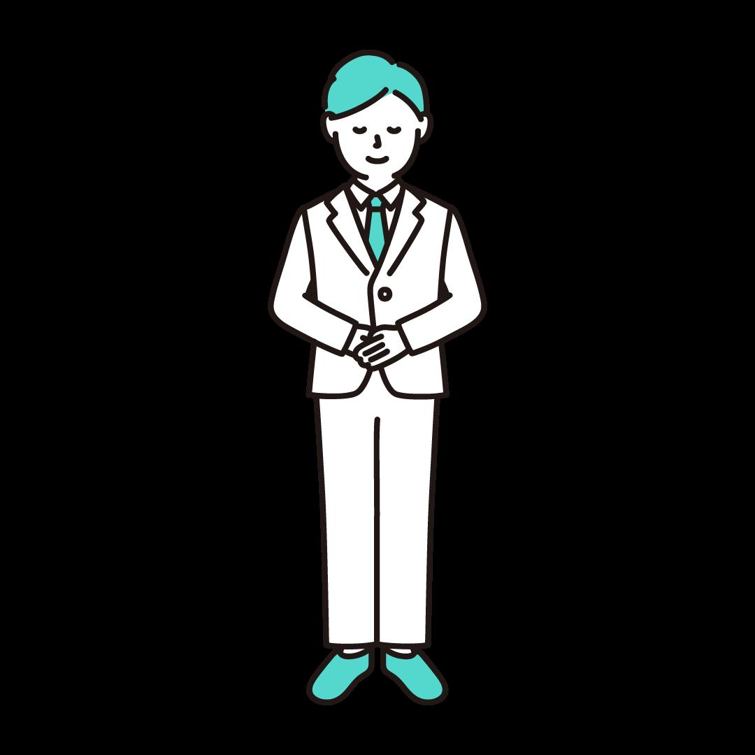 お辞儀をする男性のイラスト(エメラルド)