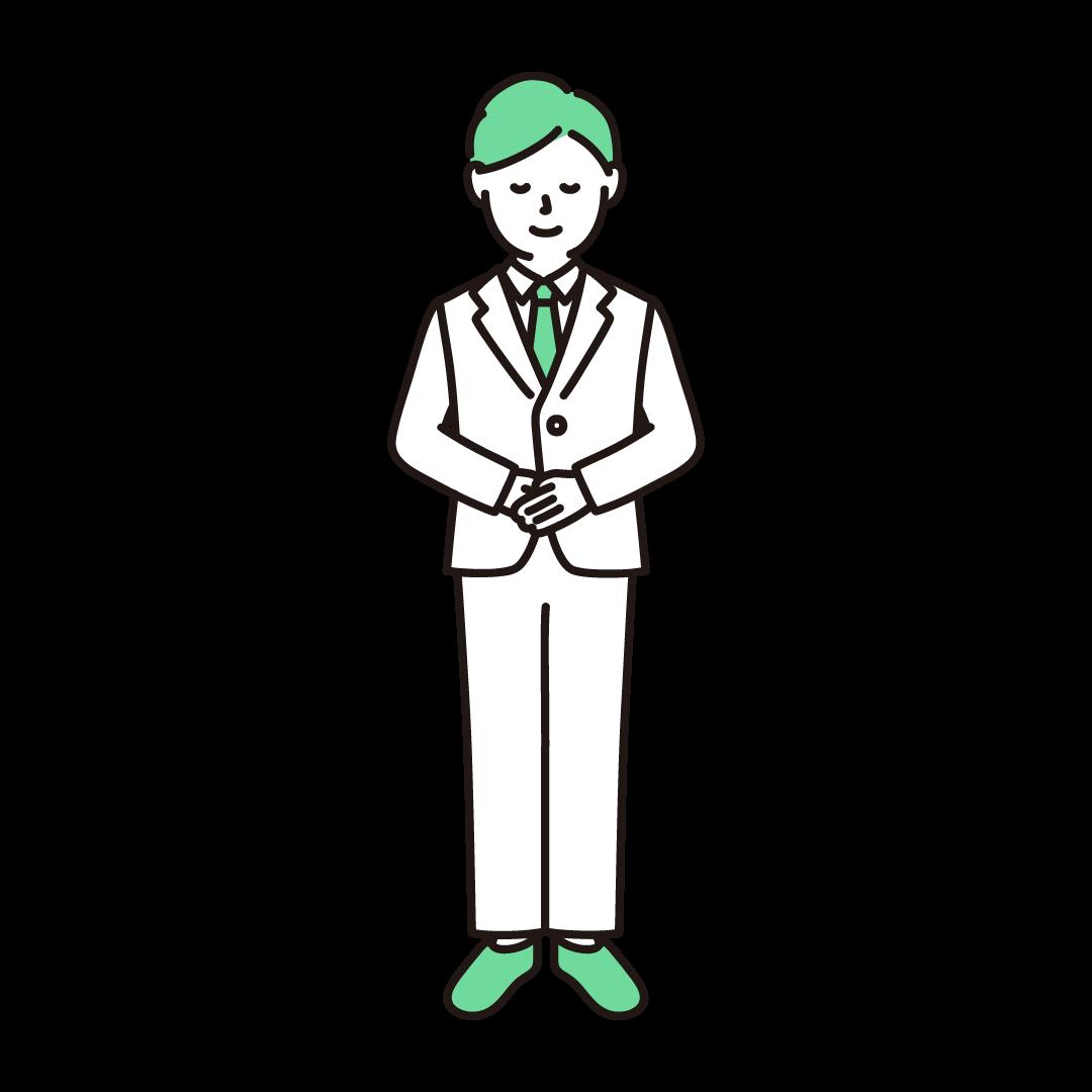 お辞儀をする男性のイラスト(グリーン)