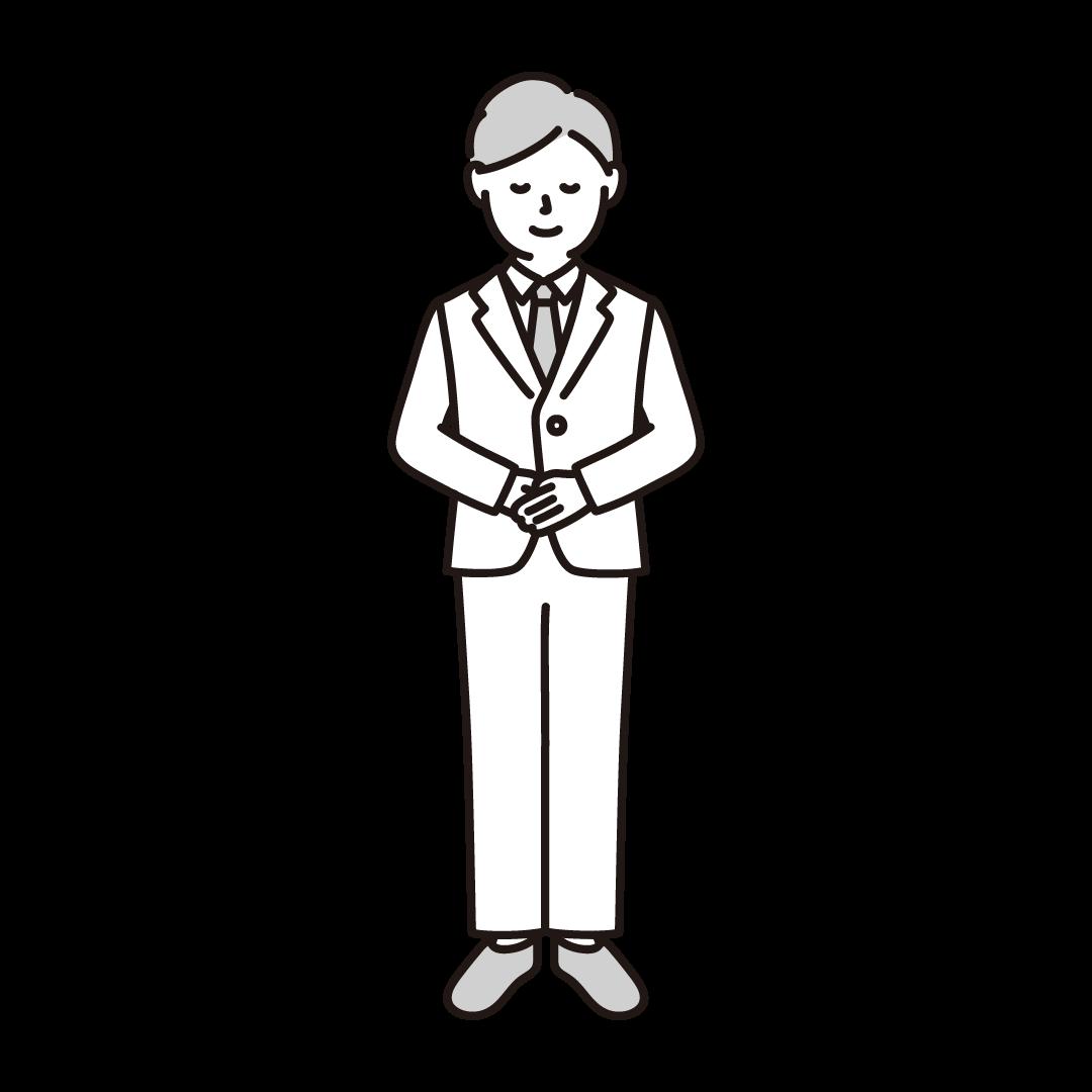 お辞儀をする男性のイラスト(グレー)