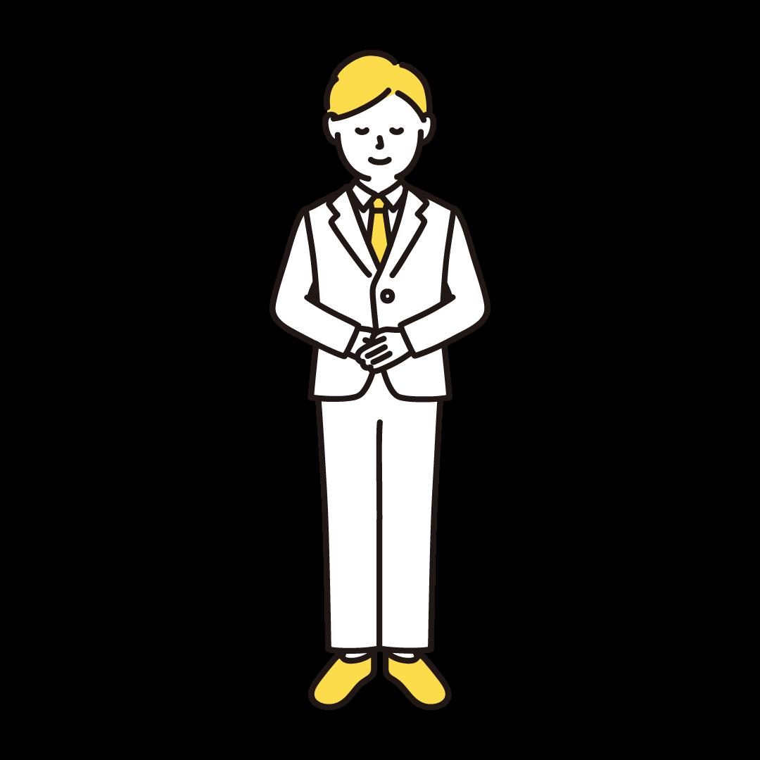 お辞儀をする男性のイラスト(イエロー)
