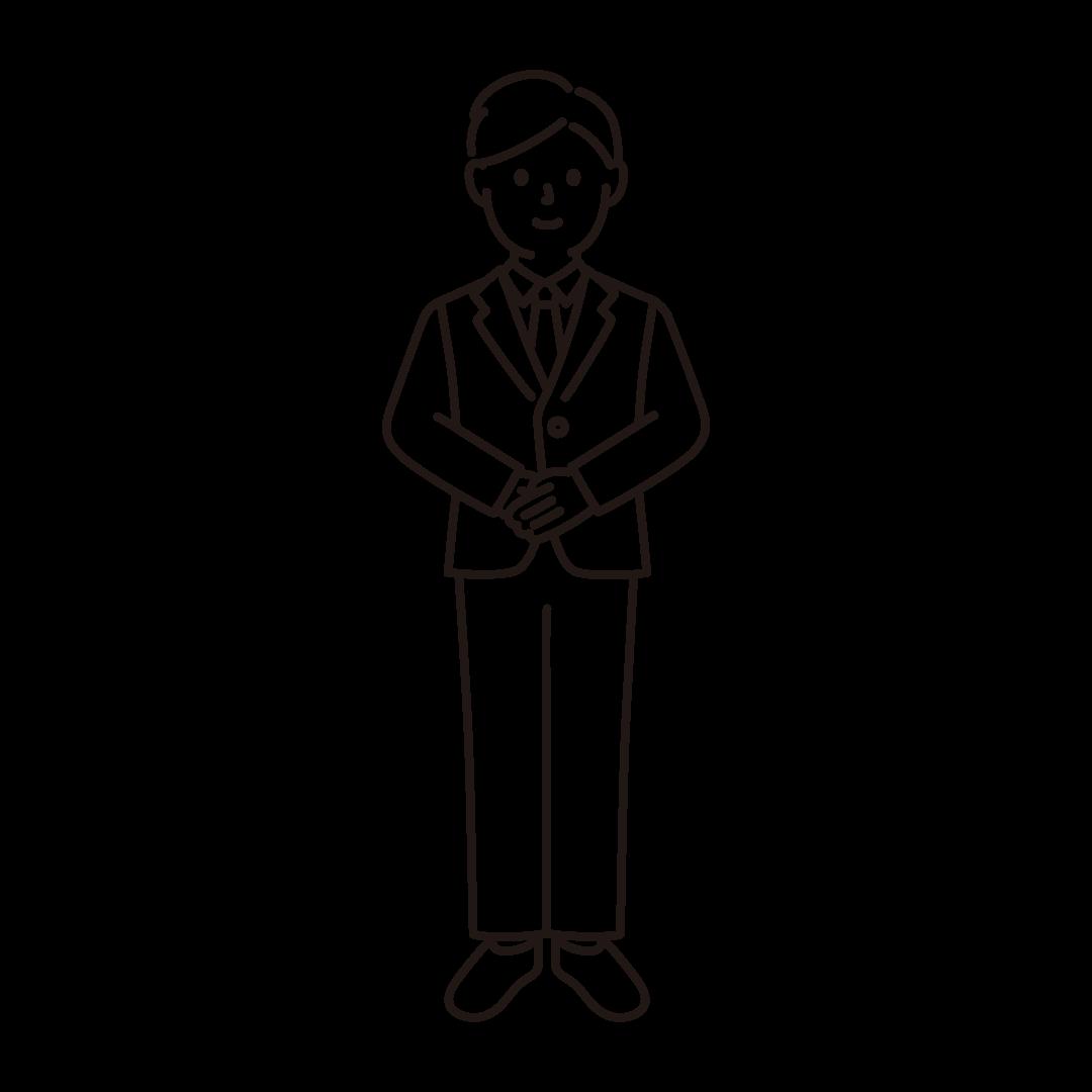 手を揃える男性の線画イラスト
