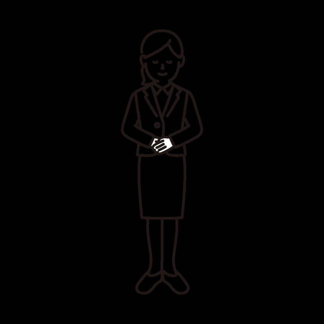 お辞儀をするビジネスウーマンの線画イラスト