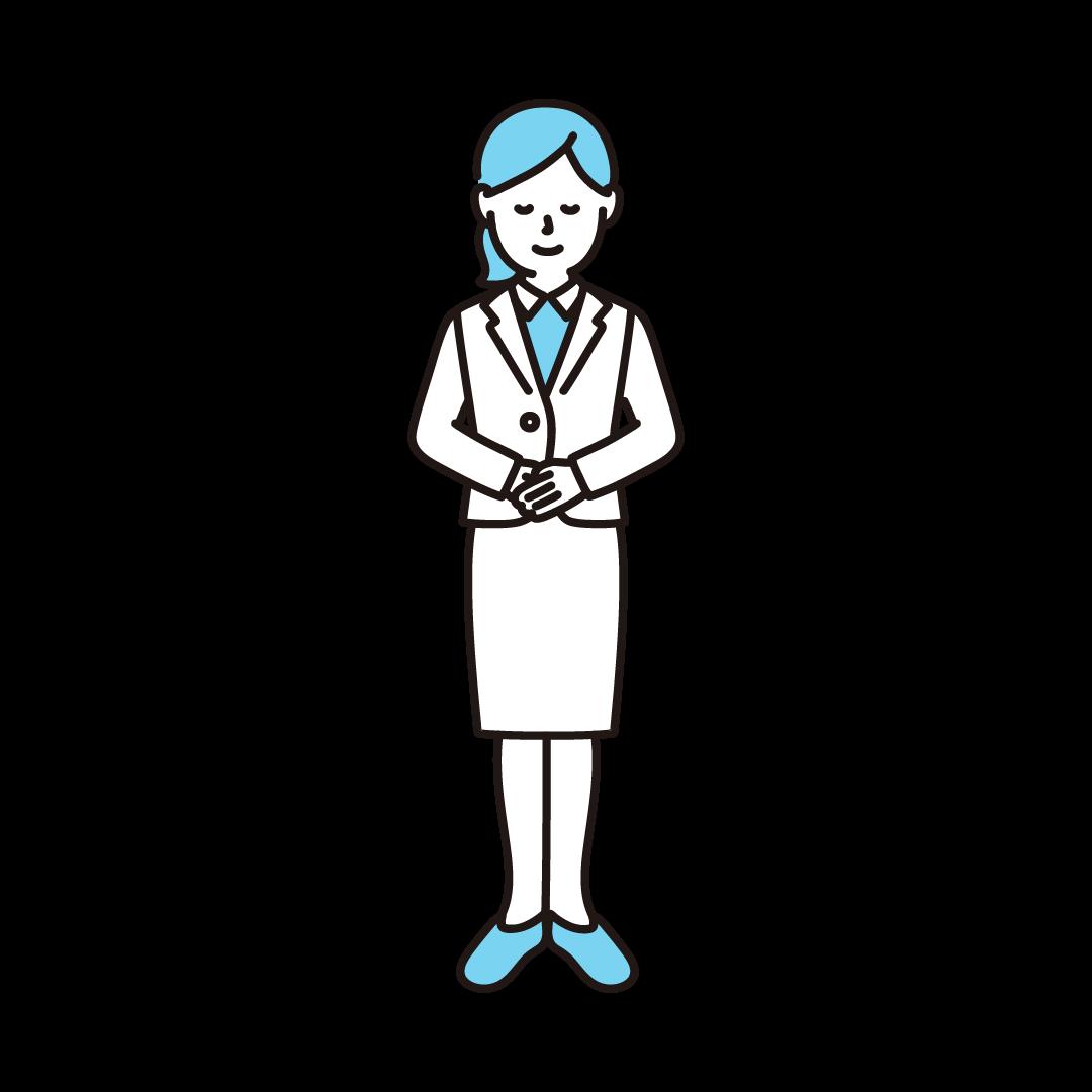 お辞儀をする女性のイラスト(ブルー)