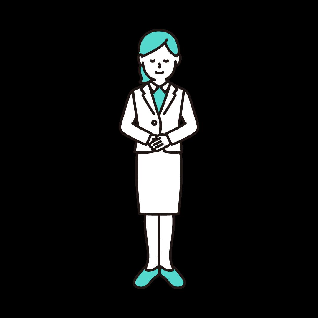 お辞儀をする女性のイラスト(エメラルド)