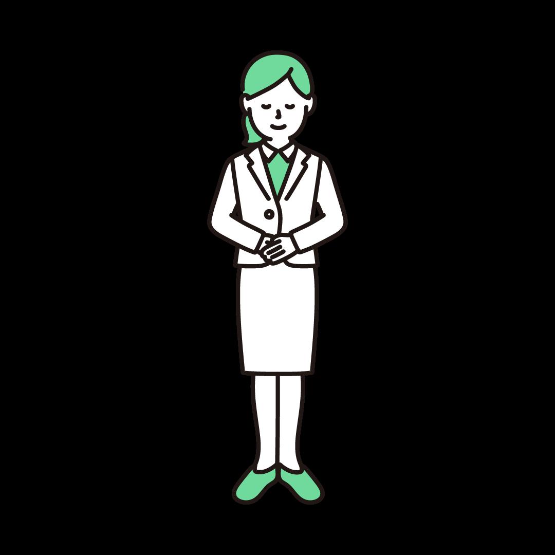 お辞儀をする女性のイラスト(グリーン)