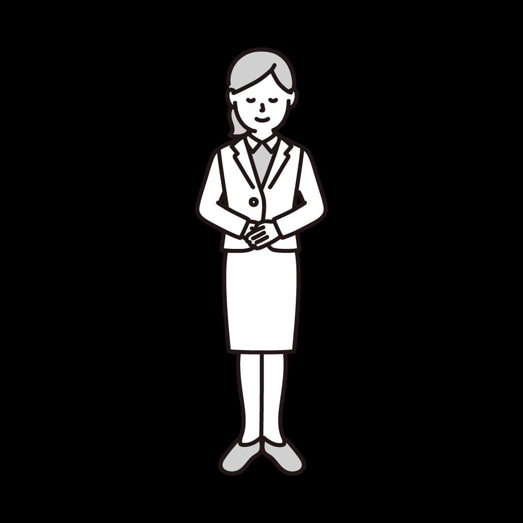 お辞儀をする女性のイラスト(グレー)
