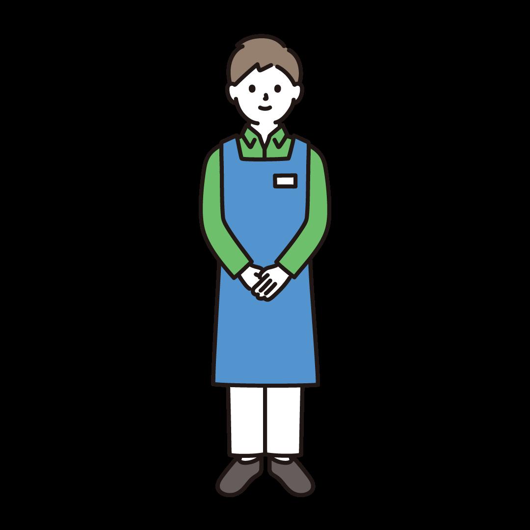 スーパーの店員(男性)のイラスト