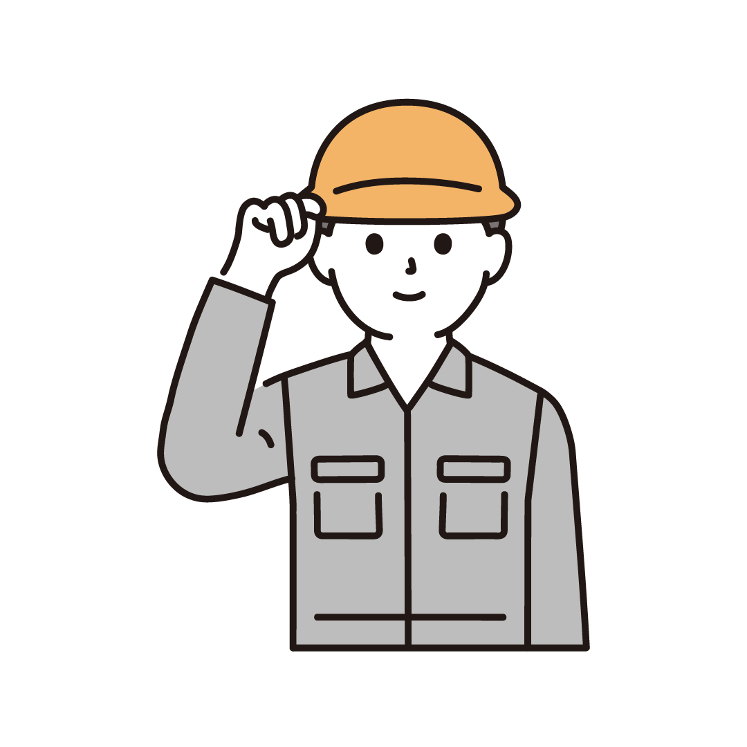 男性作業員のイラスト(上半身)