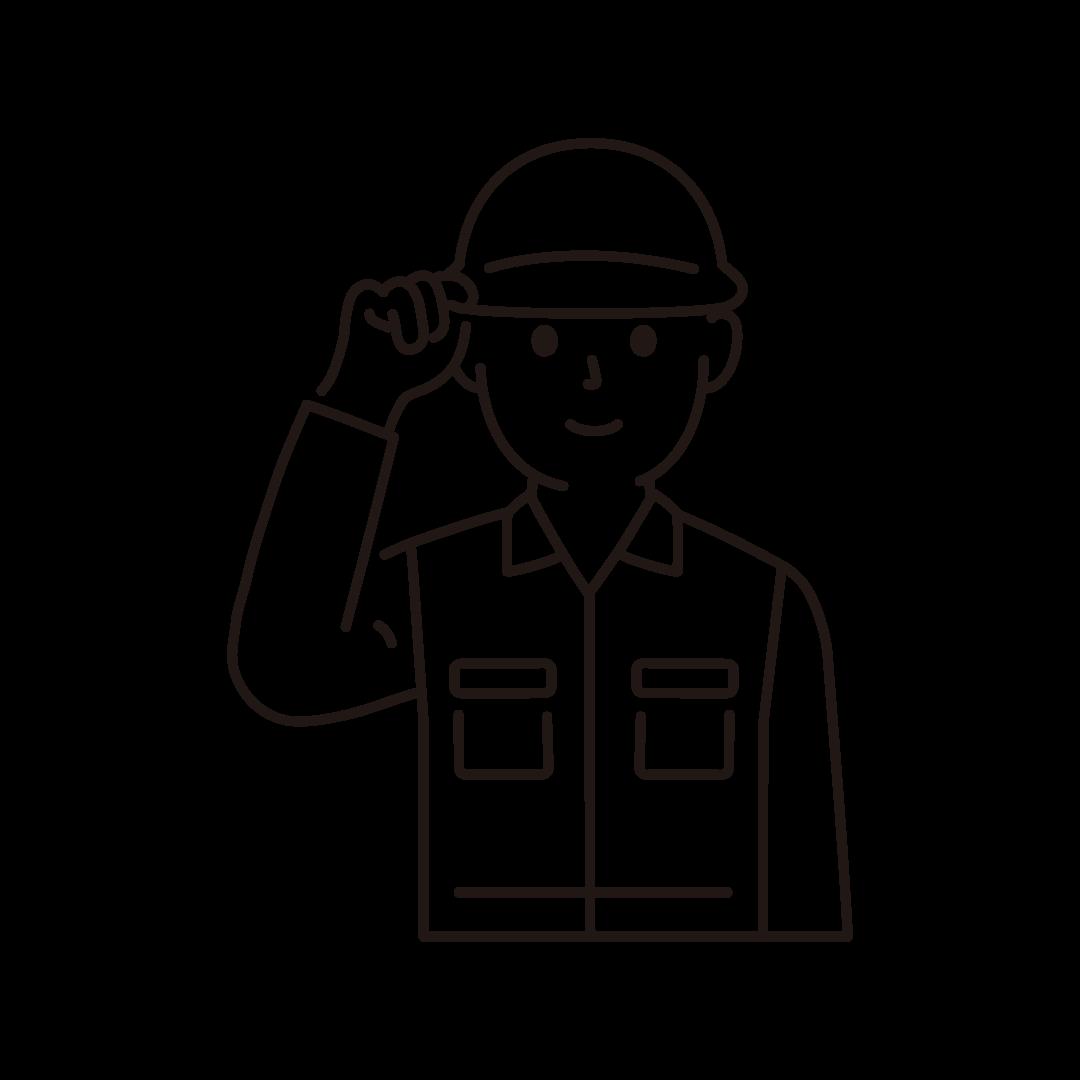 現場作業員(男性・上半身)の線画イラスト
