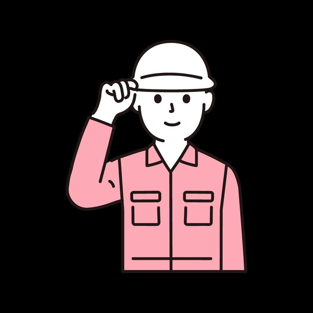現場作業員(男性・上半身)のイラスト(ピンク)
