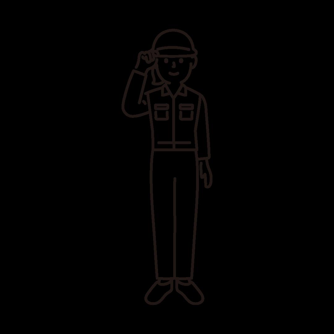 現場作業員(女性)の線画イラスト