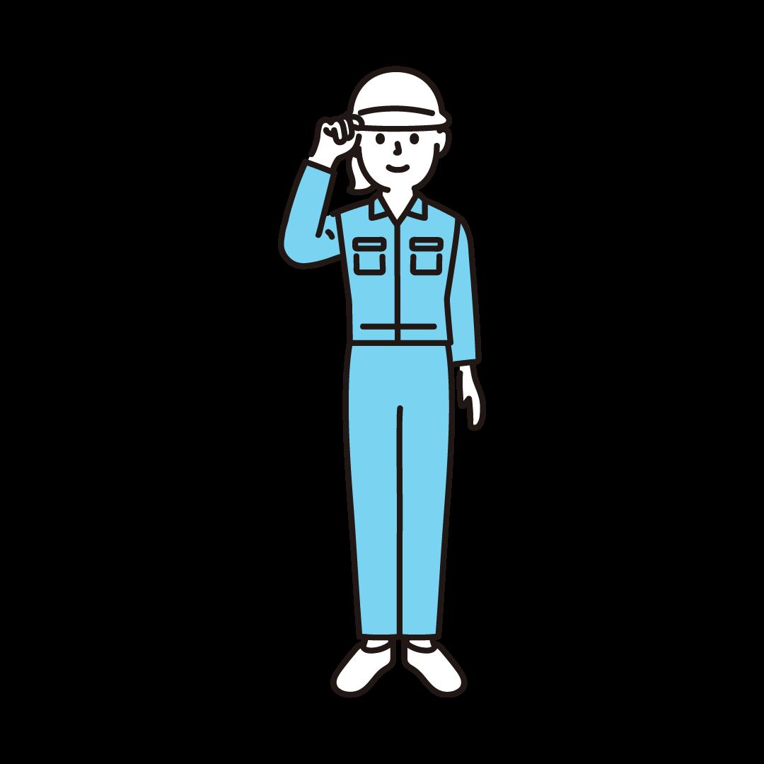 現場作業員(女性)のイラスト(ブルー)