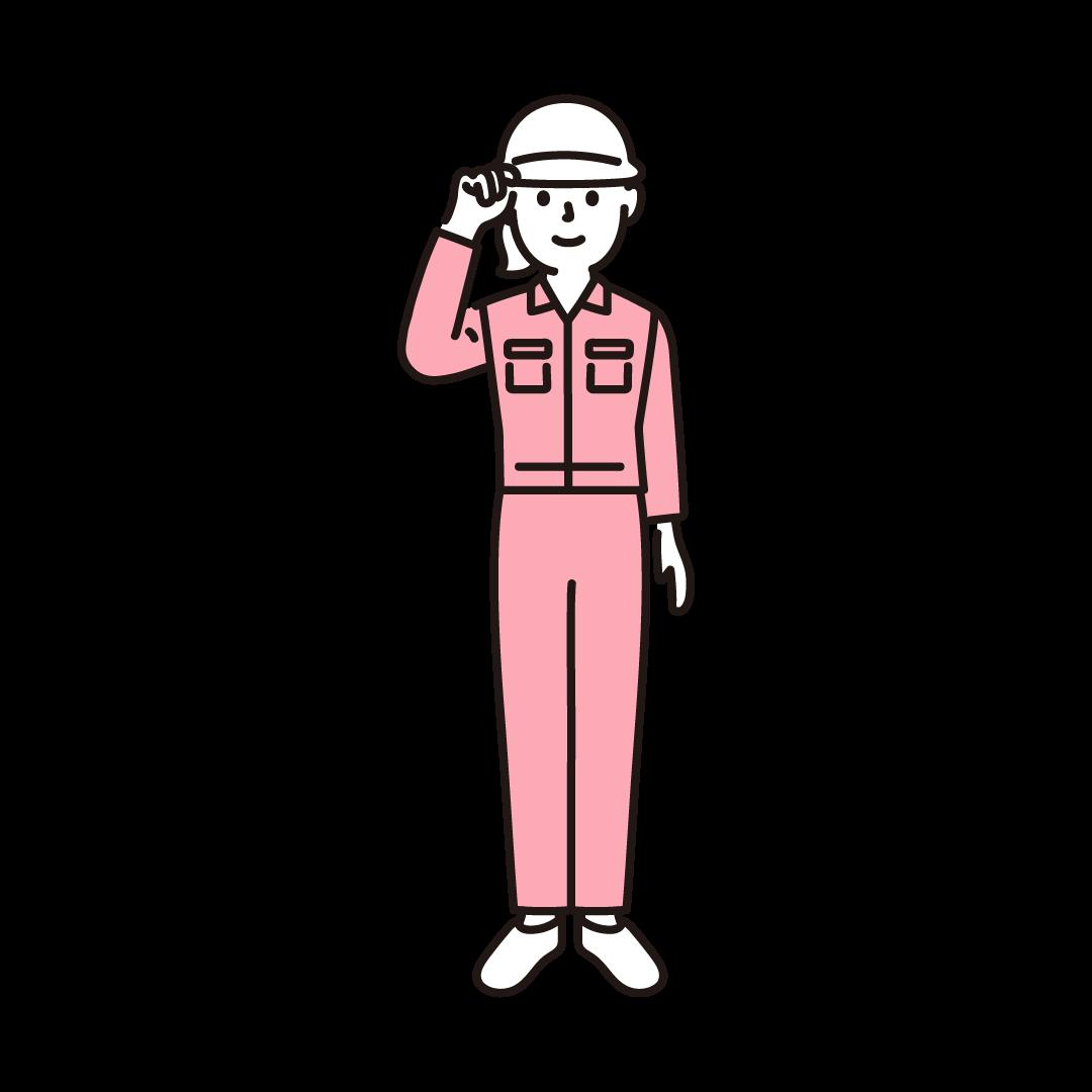 現場作業員(女性)のイラスト(ピンク)