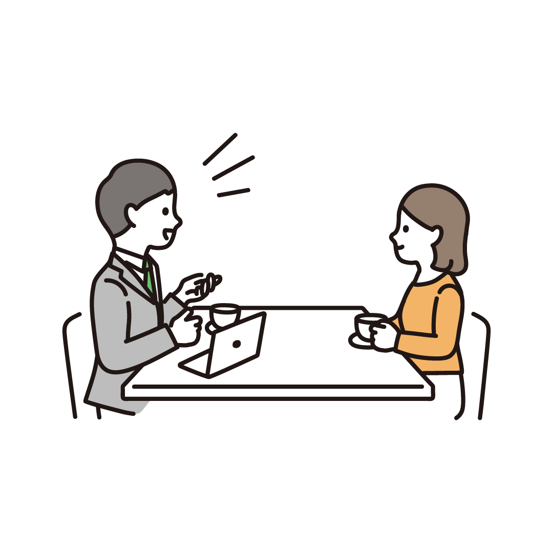 打ち合わせ(会議)をする人のイラスト