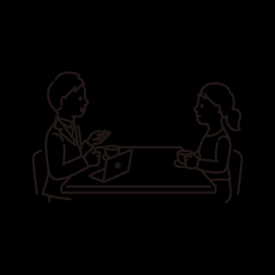 打ち合わせをする人の線画イラスト
