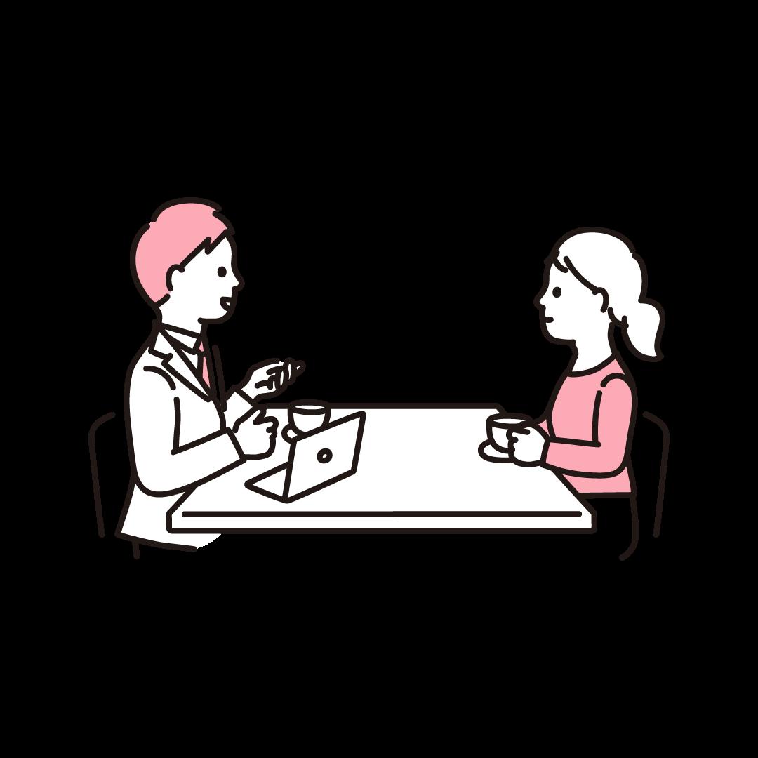 打ち合わせをする人の単色イラスト