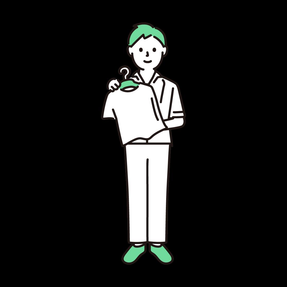 アパレル店員(男性)の単色イラスト
