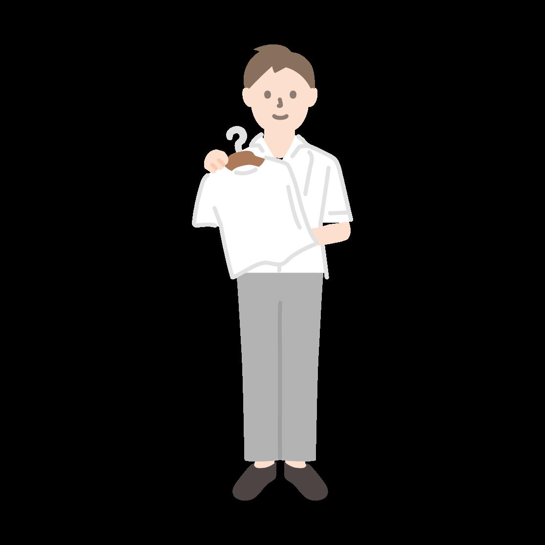 アパレル店員(男性)の線画イラスト