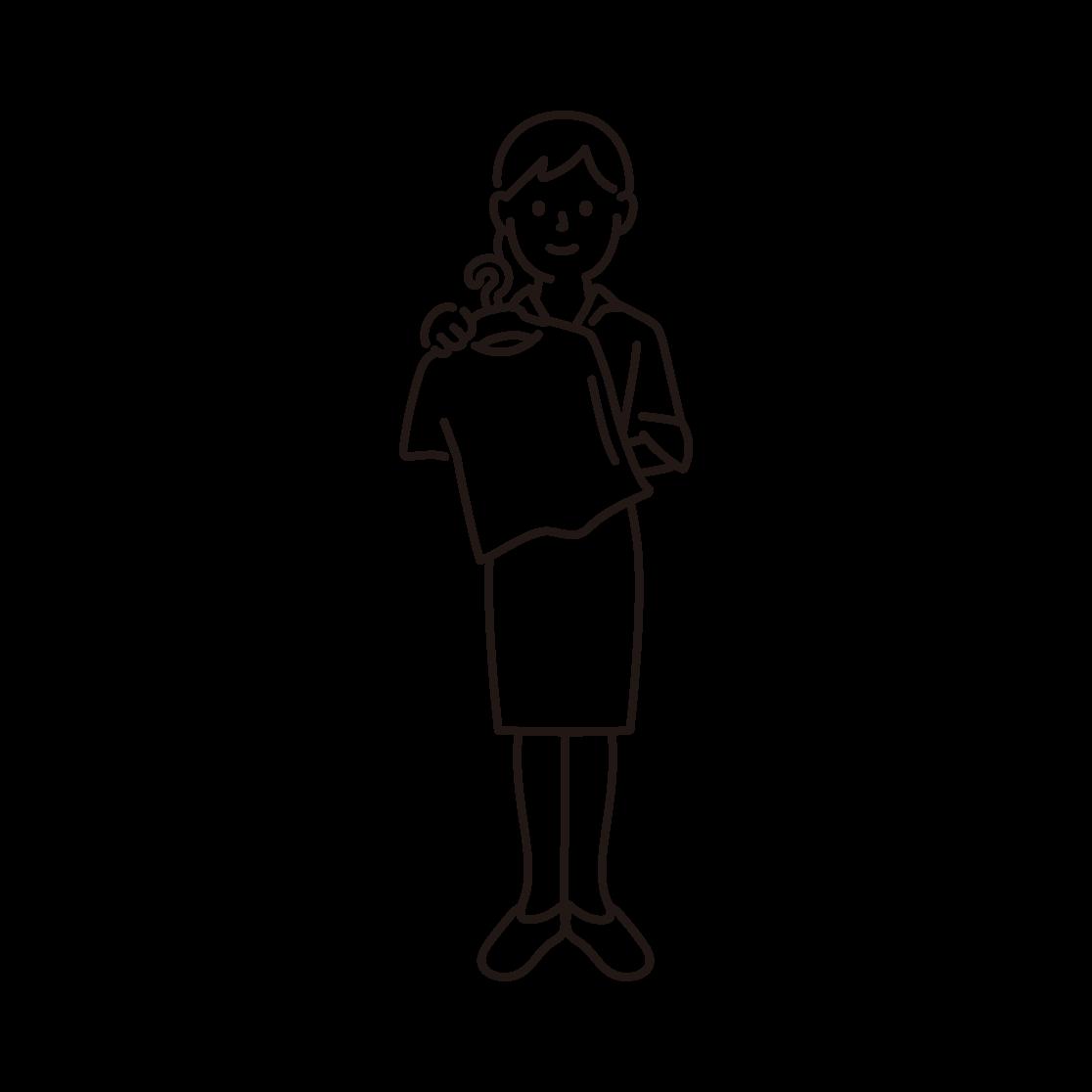 アパレル店員(女性)の線画イラスト
